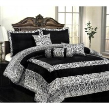 7 Pcs Flocking Zebra – Leopard Design Comforter Set Bed In A Bag